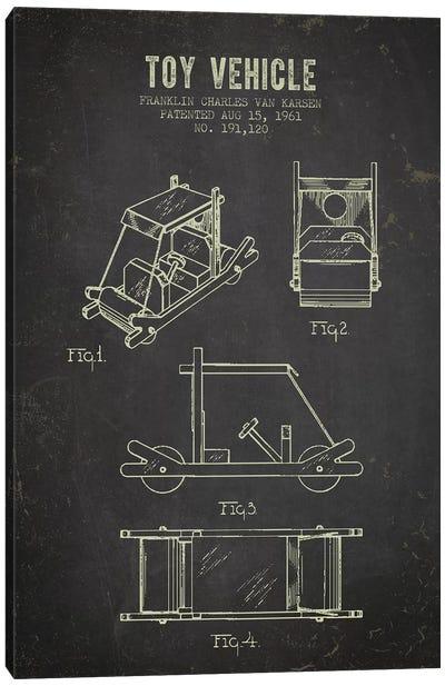 Franklin Van Karsen Flintstone Toy Car Patent Sketch (Charcoal) Canvas Art Print