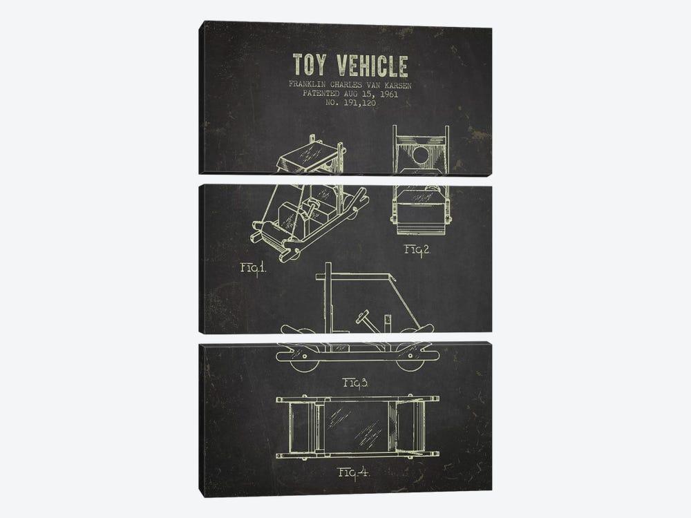 Franklin Van Karsen Flintstone Toy Car Patent Sketch (Charcoal) by Aged Pixel 3-piece Canvas Print