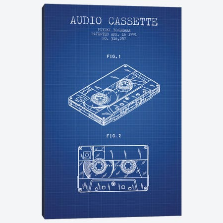 Fuyuki Yonehara Audio Cassette Patent Sketch (Blue Grid) Canvas Print #ADP2894} by Aged Pixel Canvas Wall Art