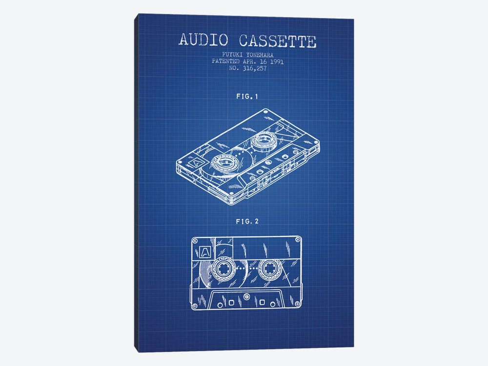 Fuyuki Yonehara Audio Cassette Patent Sketch (Blue Grid) by Aged Pixel 1-piece Canvas Art