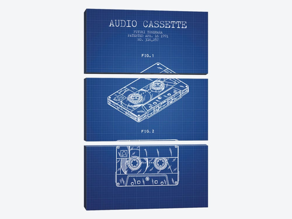 Fuyuki Yonehara Audio Cassette Patent Sketch (Blue Grid) by Aged Pixel 3-piece Canvas Wall Art