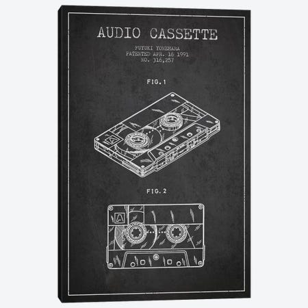 Fuyuki Yonehara Audio Cassette Patent Sketch (Charcoal) Canvas Print #ADP2895} by Aged Pixel Canvas Art