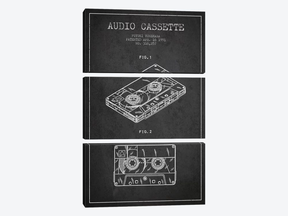 Fuyuki Yonehara Audio Cassette Patent Sketch (Charcoal) by Aged Pixel 3-piece Canvas Print