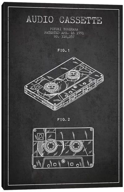 Fuyuki Yonehara Audio Cassette Patent Sketch (Charcoal) Canvas Art Print