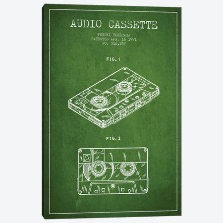 Fuyuki Yonehara Audio Cassette Patent Sketch (Green) Canvas Print #ADP2896} by Aged Pixel Canvas Artwork