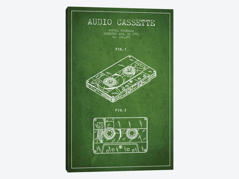Fuyuki Yonehara Audio Cassette Patent Sketch (Green) by Aged Pixel 1-piece Canvas Art