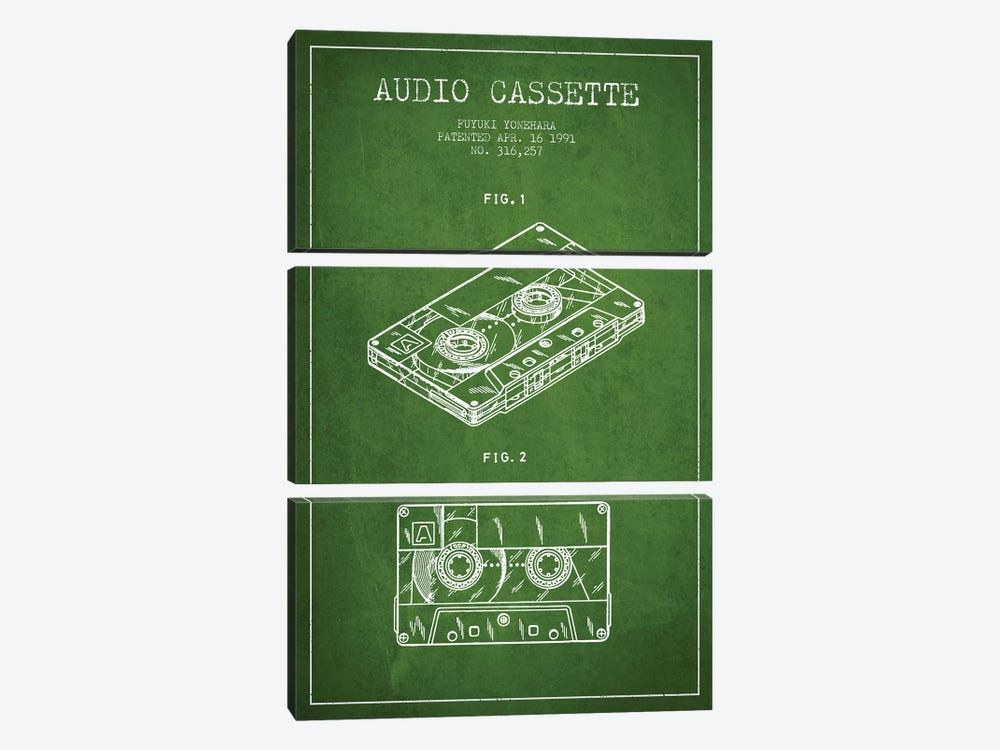 Fuyuki Yonehara Audio Cassette Patent Sketch (Green) by Aged Pixel 3-piece Canvas Artwork