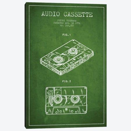 Fuyuki Yonehara Audio Cassette Patent Sketch (Green) Canvas Print #ADP2896} by Aged Pixel Canvas Artwork