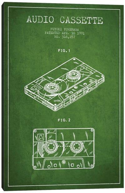 Fuyuki Yonehara Audio Cassette Patent Sketch (Green) Canvas Art Print