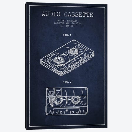 Fuyuki Yonehara Audio Cassette Patent Sketch (Navy Blue) Canvas Print #ADP2897} by Aged Pixel Canvas Art