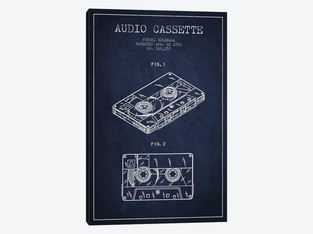 Fuyuki Yonehara Audio Cassette Patent Sketch (Navy Blue) by Aged Pixel 1-piece Art Print