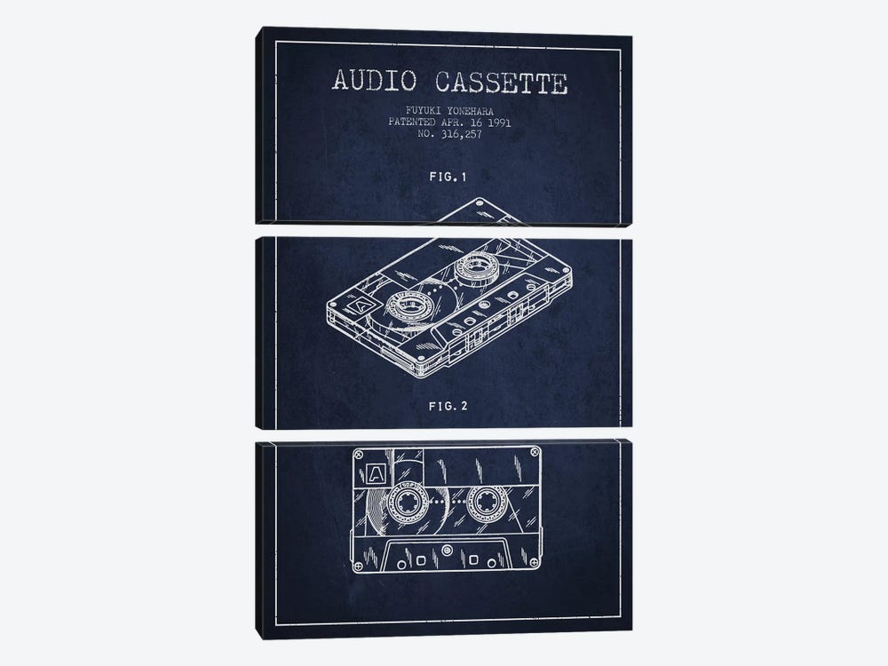 Fuyuki Yonehara Audio Cassette Patent Sketch (Navy Blue) by Aged Pixel 3-piece Art Print