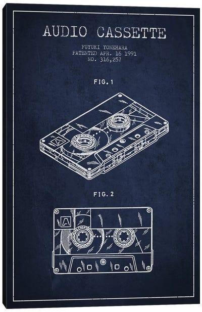 Fuyuki Yonehara Audio Cassette Patent Sketch (Navy Blue) Canvas Art Print