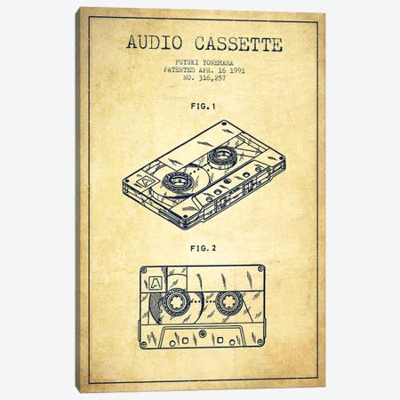 Fuyuki Yonehara Audio Cassette Patent Sketch (Vintage) Canvas Print #ADP2898} by Aged Pixel Canvas Print
