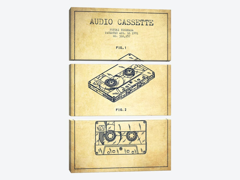 Fuyuki Yonehara Audio Cassette Patent Sketch (Vintage) by Aged Pixel 3-piece Canvas Wall Art