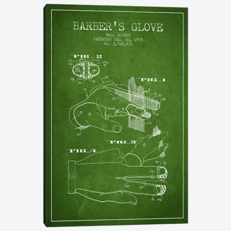 Barber's Glove Green Patent Blueprint Canvas Print #ADP289} by Aged Pixel Canvas Art Print