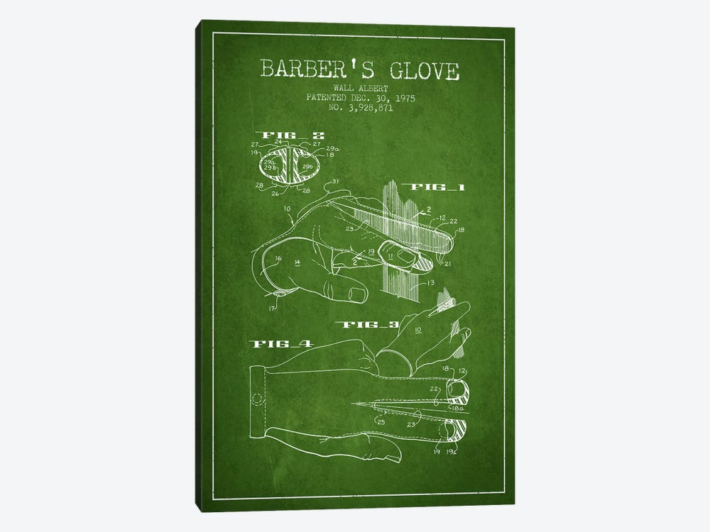 Babers Glove Green Patent Blueprint by Aged Pixel 1-piece Canvas Art Print