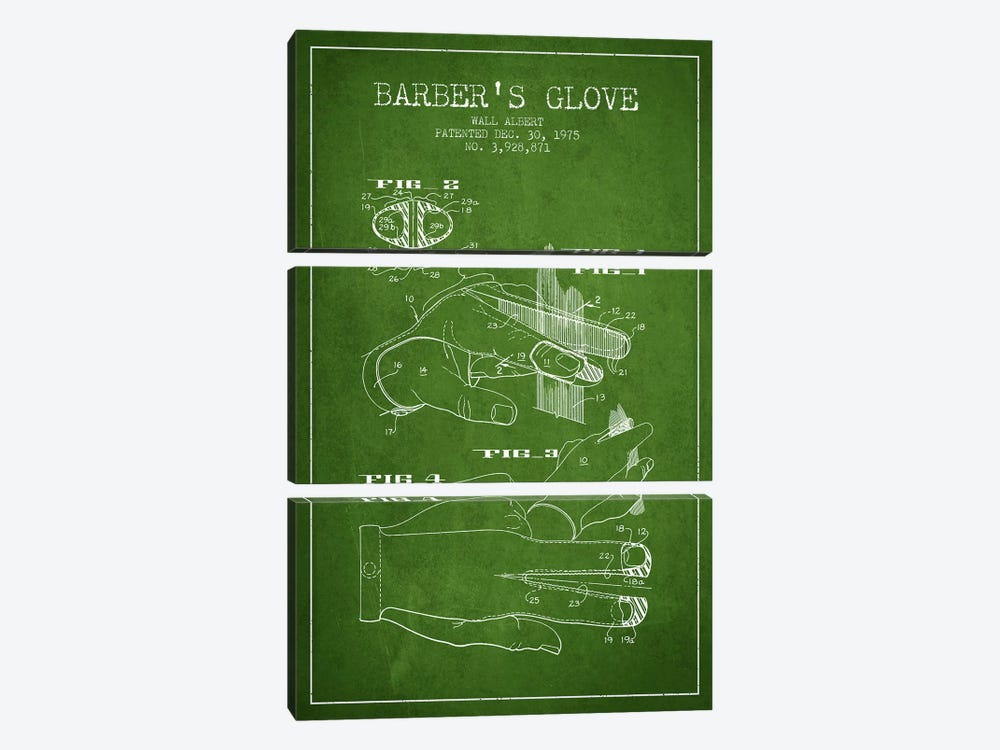 Babers Glove Green Patent Blueprint by Aged Pixel 3-piece Canvas Art Print
