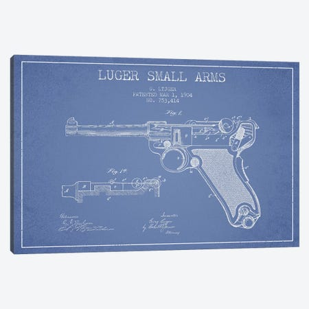 Georg Luger Arms Patent Sketch (Light Blue) Canvas Print #ADP2904} by Aged Pixel Canvas Wall Art