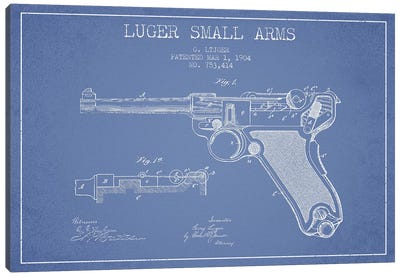 Georg Luger Arms Patent Sketch (Light Blue) Canvas Art Print
