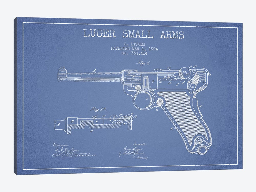 Georg Luger Arms Patent Sketch (Light Blue) by Aged Pixel 1-piece Canvas Artwork