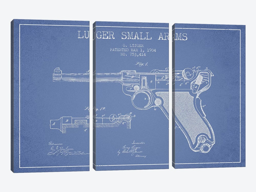 Georg Luger Arms Patent Sketch (Light Blue) by Aged Pixel 3-piece Canvas Wall Art