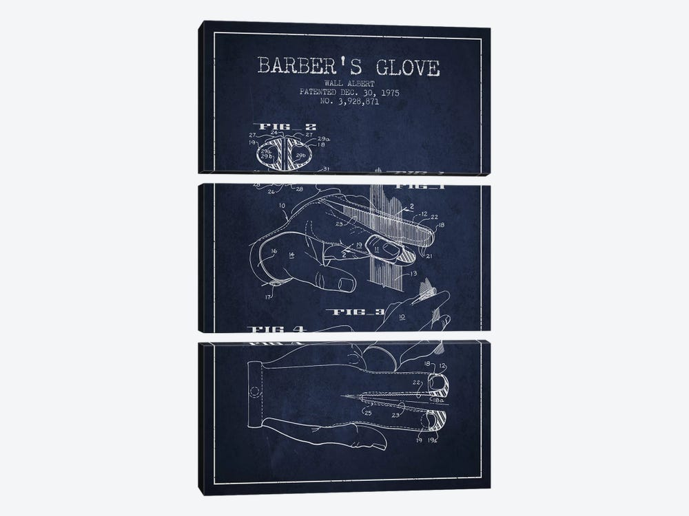 Babers Glove Navy Blue Patent Blueprint by Aged Pixel 3-piece Canvas Print