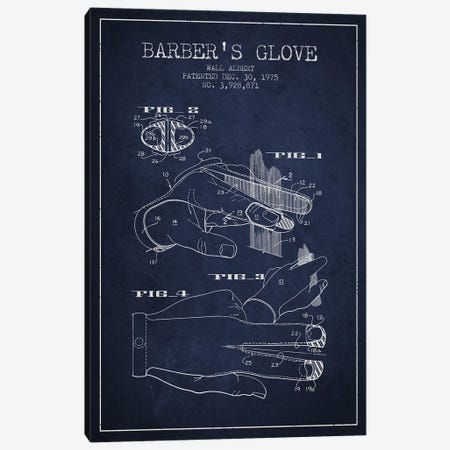 Barber's Glove Navy Blue Patent Blueprint Canvas Print #ADP290} by Aged Pixel Canvas Art