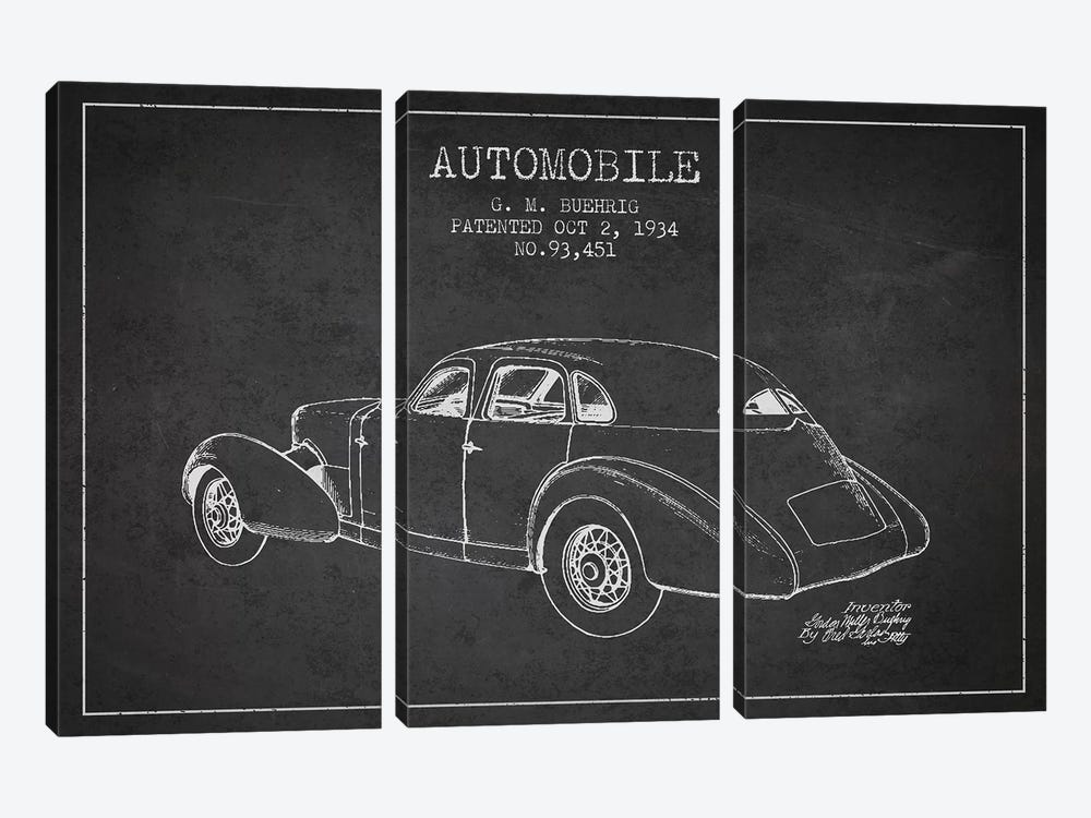 G.M. Buehrig Cord Automobile (Charcoal) I by Aged Pixel 3-piece Canvas Wall Art