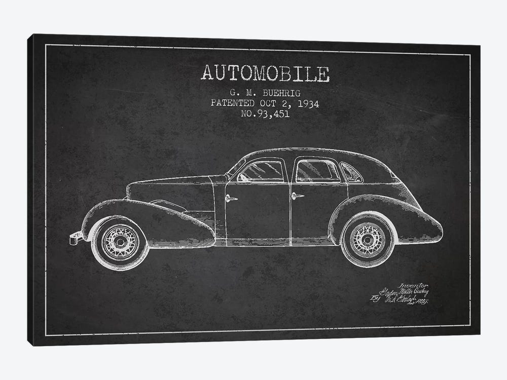 G.M. Buehrig Cord Automobile (Charcoal) III by Aged Pixel 1-piece Canvas Art