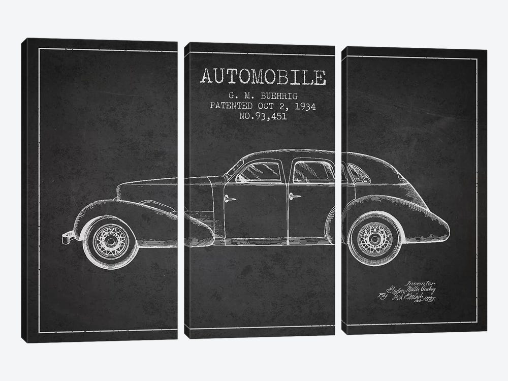 G.M. Buehrig Cord Automobile (Charcoal) III by Aged Pixel 3-piece Canvas Art