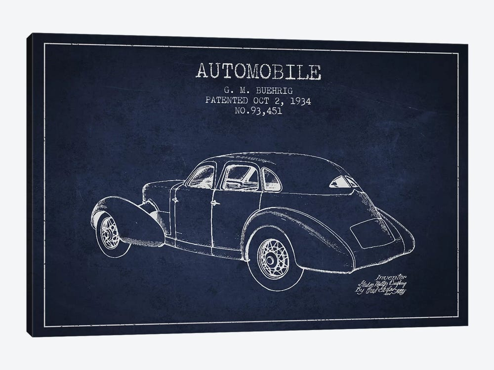 G.M. Buehrig Cord Automobile (Navy Blue) I by Aged Pixel 1-piece Canvas Art Print