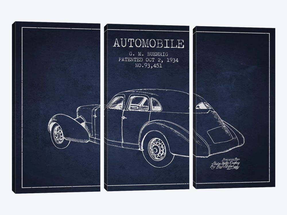 G.M. Buehrig Cord Automobile (Navy Blue) I by Aged Pixel 3-piece Canvas Print