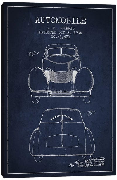 G.M. Buehrig Cord Automobile (Navy Blue) II Canvas Art Print