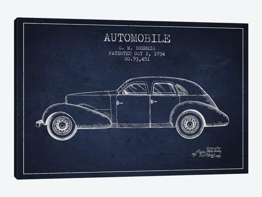 G.M. Buehrig Cord Automobile (Navy Blue) III by Aged Pixel 1-piece Canvas Art Print