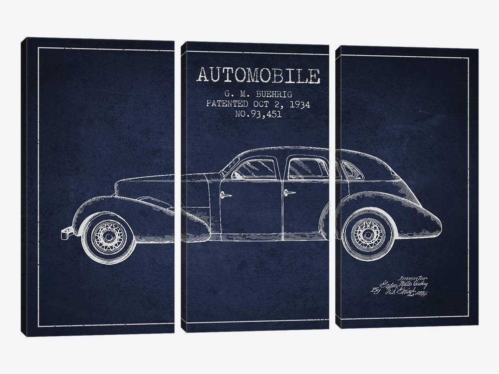 G.M. Buehrig Cord Automobile (Navy Blue) III by Aged Pixel 3-piece Art Print