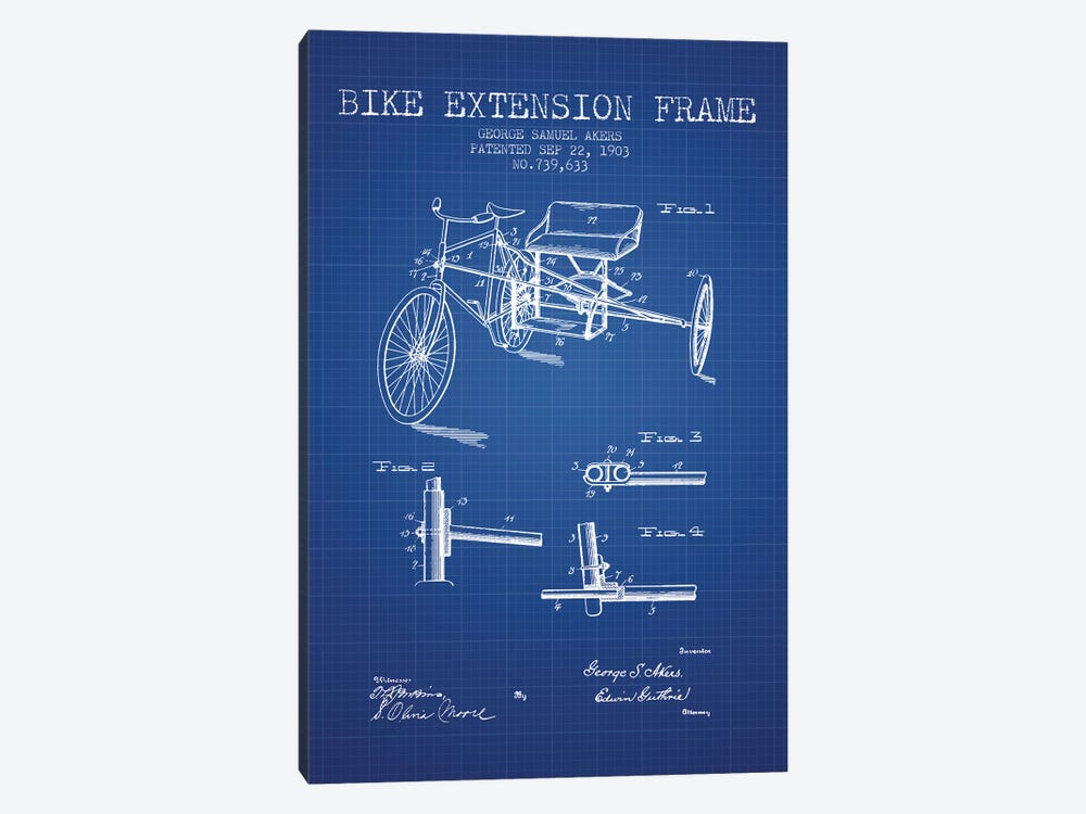 G.W. Akers Bike Extension Frame Patent Sketch (Blue Grid) by Aged Pixel 1-piece Canvas Art