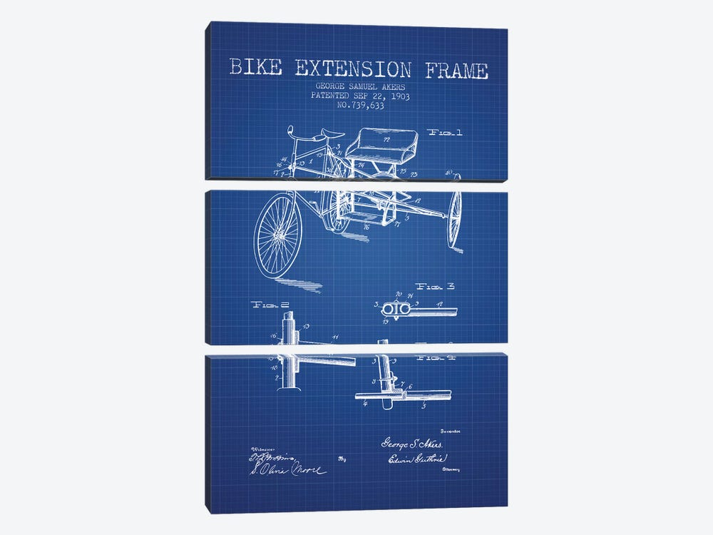 G.W. Akers Bike Extension Frame Patent Sketch (Blue Grid) by Aged Pixel 3-piece Canvas Wall Art