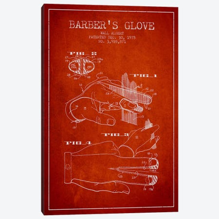 Barber's Glove Red Patent Blueprint Canvas Print #ADP291} by Aged Pixel Canvas Art