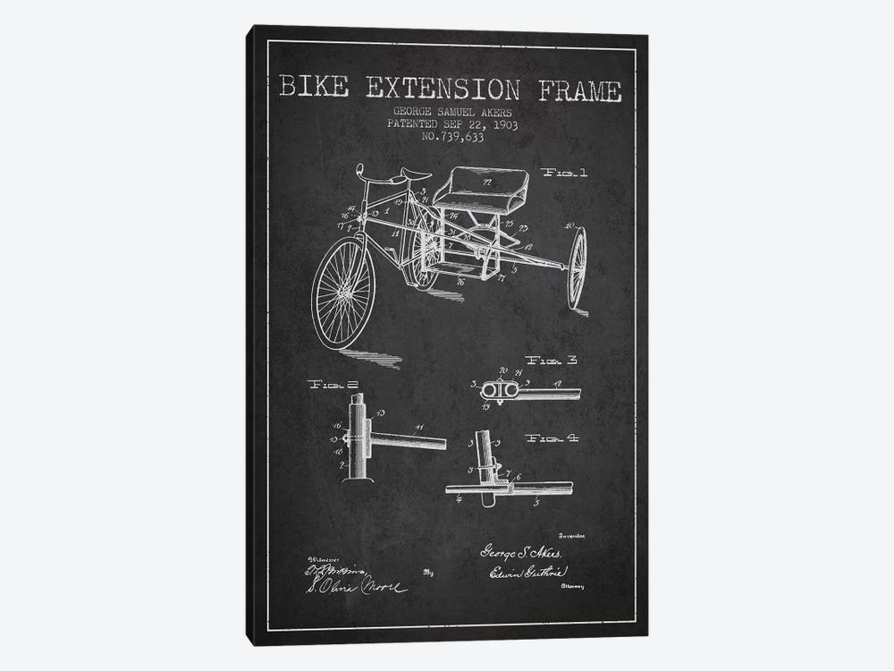 G.W. Akers Bike Extension Frame Patent Sketch (Charcoal) by Aged Pixel 1-piece Canvas Artwork