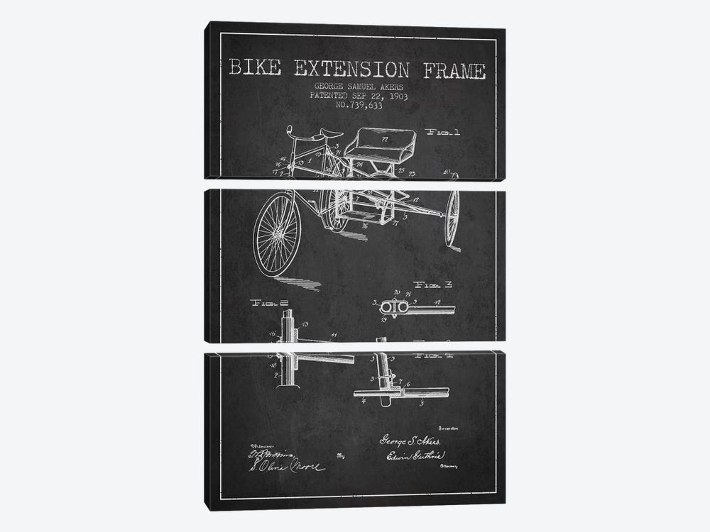 G.W. Akers Bike Extension Frame Patent Sketch (Charcoal) by Aged Pixel 3-piece Canvas Artwork