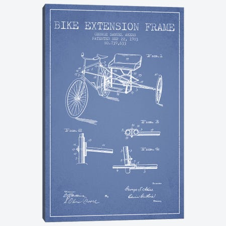 G.W. Akers Bike Extension Frame Patent Sketch (Light Blue) Canvas Print #ADP2921} by Aged Pixel Art Print