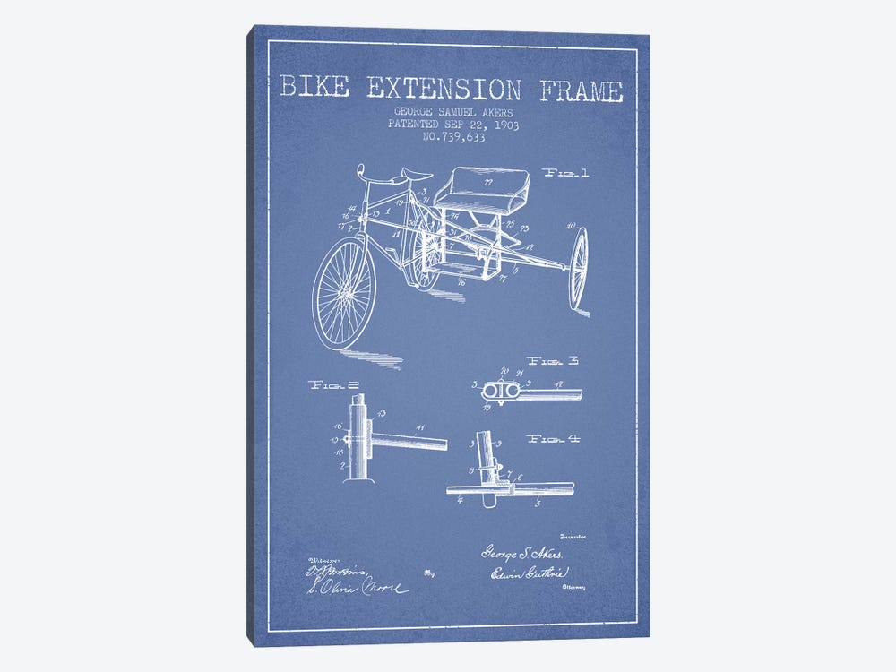 G.W. Akers Bike Extension Frame Patent Sketch (Light Blue) by Aged Pixel 1-piece Canvas Art Print