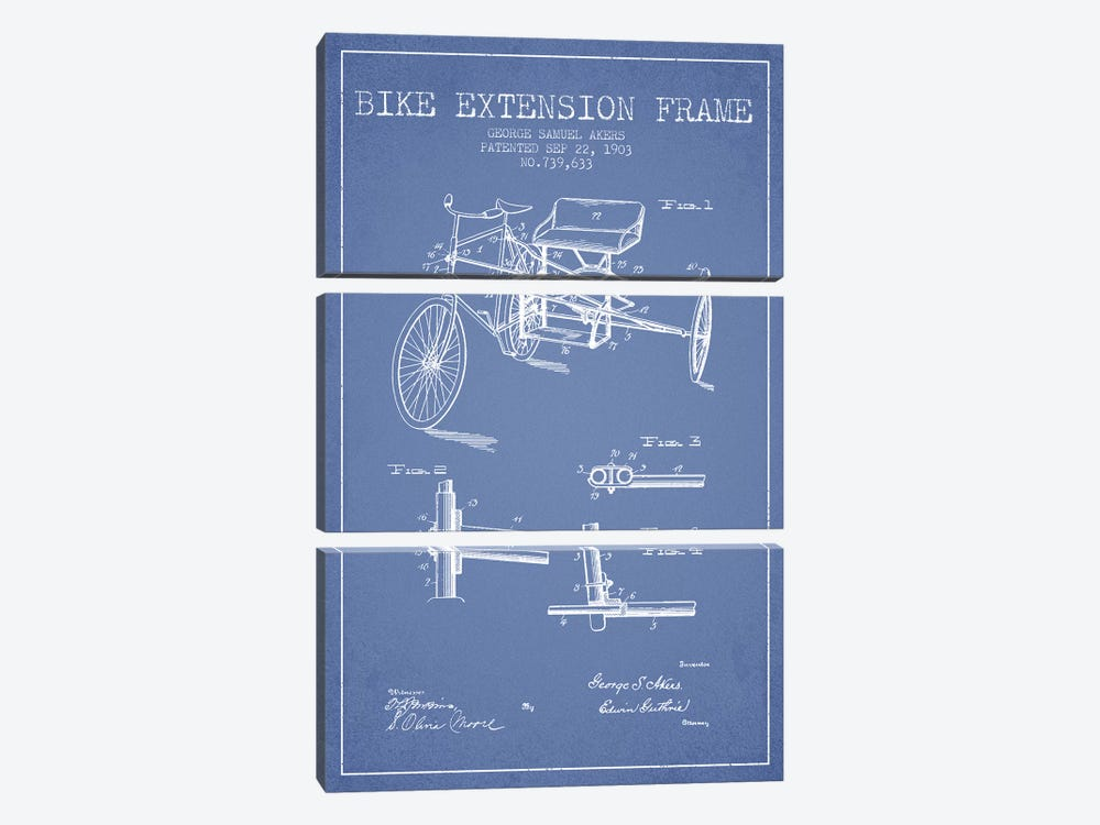 G.W. Akers Bike Extension Frame Patent Sketch (Light Blue) by Aged Pixel 3-piece Art Print