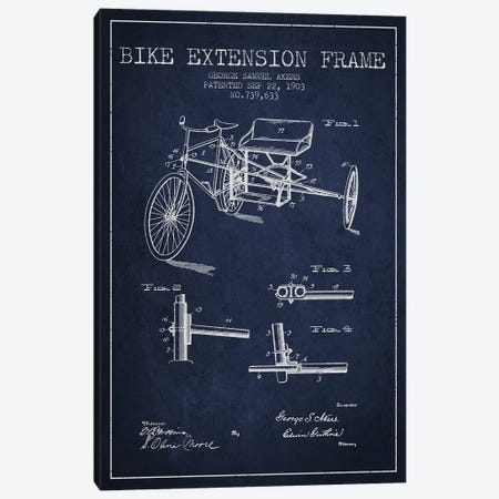 G.W. Akers Bike Extension Frame Patent Sketch (Navy Blue) Canvas Print #ADP2922} by Aged Pixel Canvas Print