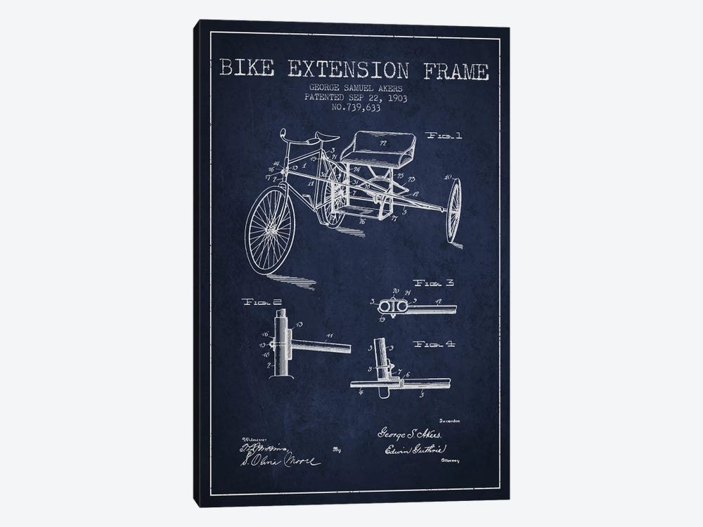 G.W. Akers Bike Extension Frame Patent Sketch (Navy Blue) by Aged Pixel 1-piece Canvas Art