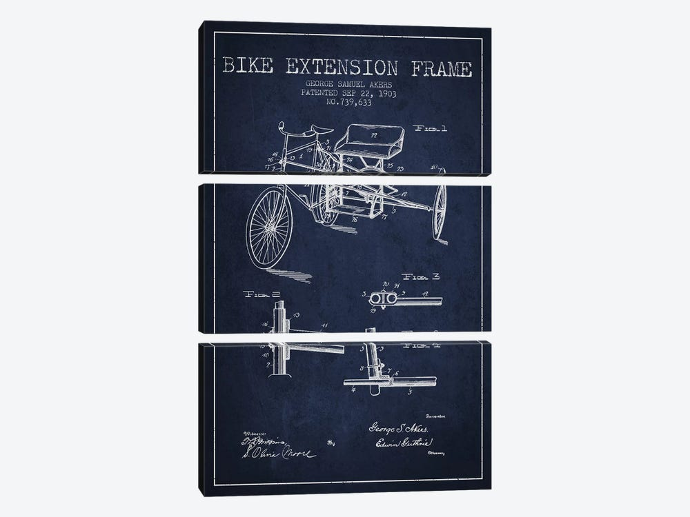 G.W. Akers Bike Extension Frame Patent Sketch (Navy Blue) by Aged Pixel 3-piece Canvas Artwork