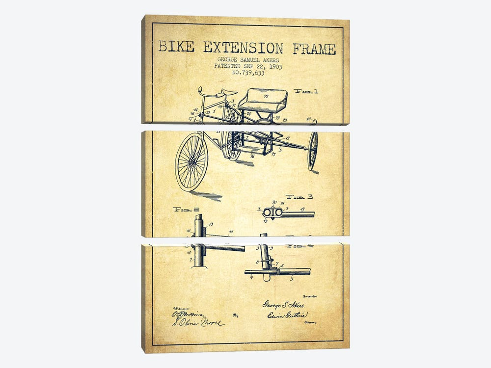 G.W. Akers Bike Extension Frame Patent Sketch (Vintage) by Aged Pixel 3-piece Canvas Print