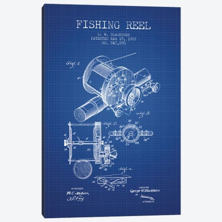 G.W. Blackburn Fishing Reel Patent Sketch (Blue Grid) Canvas Print #ADP2924} by Aged Pixel Canvas Artwork