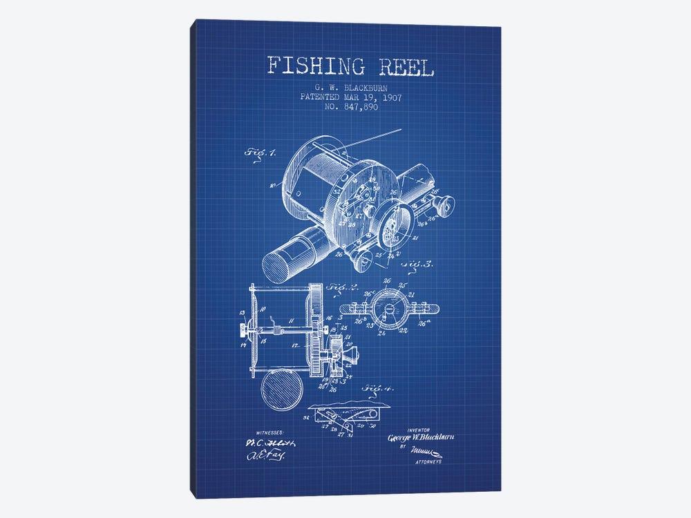 G.W. Blackburn Fishing Reel Patent Sketch (Blue Grid) by Aged Pixel 1-piece Canvas Art